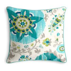 Aqua Suzani Outdoor Pillow - Loom Decor Custom Outdoor Corded Throw Pillow in Sunzani - Aqua & Breezy Linen Alike - Bright Aqua