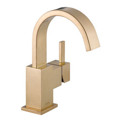Delta Single Handle Centerset Lavatory Faucet - 553LF-CZ - Inspired by slim lines and graceful arc of a ribbon, the Vero bath collection offers a high-end, modern look to the bath.