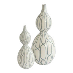 Linking Trellis Double Bulb Vase, Small - White double bulb vase featuring a hand-painted blue trellis design throughout. Gives a simple elegant touch to any room!