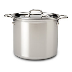 All-Clad - All-Clad Tri-Ply Stainless Steel 7 qt. Stockpot w/Lid (4507) - An essential for every kitchen and available in a variety of sizes, the stock pot features high sides that slow the evaporation of liquids, providing the ideal design for creating a variety of stocks. The wide bottom of the pan allows for sauteing of ingredients before the addition of liquids for delicious soups and stews. Stock pots are also well-suited for canning, blanching, and preparing food in large quantities. Lifetime warranty from All-Clad with normal use and proper care. Made in the USA!