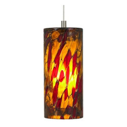 LBL Lighting - LBL Lighting Abbey Amber-Red 50W Monopoint 1 Light Track Pendant - LBL Lighting Abbey Amber-Red 50W Monopoint 1 Light Track PendantShowcasing a gorgeous translucent stained glass style Amber-Red cylinder, this stunning pendant will add beauty to any decor. This fixture features opal inner glass housing an included 50 watt xenon bulb.Each Monopoint lighting fixture includes a single-point canopy with built-in transformer right out of the box for a quick and easy installation.LBL Lighting Abbey Amber-Red 50W Monopoint Features: