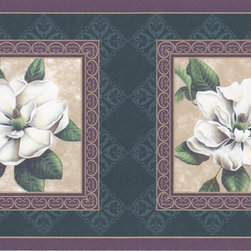 York Wallcoverings - Purple Green White Rose of Sharon Floral Wallpaper Border - Wallpaper borders bring color, character and detail to a room with exciting new look for your walls - easier and quicker than ever.