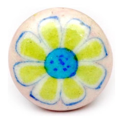 "Knobco - Single Flowers, Pink, blue and green - Pink, blue and green bathroom cabinet door knobs from Jaipur, India. Unique, round cabinet hardware for you bathroom cabinets. 1.5"" in diameter. Includes screws for installation."