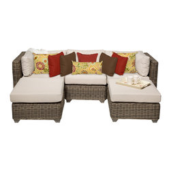 TKC - Royal 5 Piece Outdoor Wicker Patio Furniture Set 05a 2 for 1 Cover Set - Features: