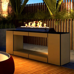 Impression Outdoor Fireplace - This is a super cool outdoor fireplace. Its design is very flexible because it's made in a modular style and you can finish it off in different ways to suit your outdoor style. I love the sleek, modern feel it has and that it's raised up so it can give off heat but also be a substantial focal point in your design.