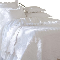 Taylor Linens - Laura Queen Quilt - Sweet dreams are made of this. You will want to slip right under the dreamy folds of this exquisitely detailed, antique-inspired coverlet. A scalloped edge, delicate hand-stitched flowers and soft white fabric will keep you dreaming with no need to count sheep.