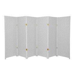 Oriental Furniture - 4 ft. Tall Woven Fiber Room Divider - White - 6 Panel - This four foot tall room divider is built from natural plant fiber woven over a lightweight wooden frame. Ideal for bringing an earthy, serene feeling to any room, the low design is perfect for dividing a space or hiding a messy area while maintaining an airy, open feel in the room.