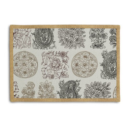 Paisley Block Print Tailored Placemat Set - Class up your table's act with a set of Tailored Placemats finished with a contemporary contrast border. So pretty you'll want to leave them out well beyond dinner time! We love it in this modern, yet eclectic blockprint paisley grid in black, browns & metallic gold on cream cotton.