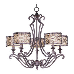 """Maxim - Traditional Maxim Mondrian 28"""" Wide 5-Light Bronze Chandelier - A warm glow emitted through the off-white shades and delicate metal silhouette of this bronze 5-light chandelier creates a stunning lighting effect. From the Mediterranean-inspired Mondrian Collection by Maxim. Forged-iron frame. Metal filigree detail. Umber bronze finish. Off-white fabric shades. Five maximum 60 watt or equivalent bulbs (not included). 28"""" wide. 27"""" high.  Forged-iron frame.   Metal filigree detail.   Umber bronze finish.   Off-white fabric shades.   Five maximum 60 watt or equivalent bulbs (not included).   28"""" wide.   27"""" high."""