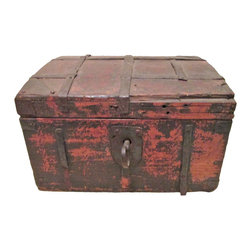 Antique Trunk with Key - A metal strapped wood trunk with key in original condition. Keep your favorite small antique toys,