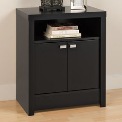 """Prepac - Black Series 9 Designer 2 Door Tall Nightstand - The Black Series 9 Designer 2 Door Tall Nightstand draws the eye with its bold, thick tops and sides, and is the perfect choice for your modern bedroom. Offering ample space in the open top shelf, this nightstand stands out with two elegant doors instead of the traditional drawers. Conceal items like books, baskets and other personal items behind them, or keep them closer at hand in the top shelf.; Doors feature stylish rectangular chrome finished metal pulls; Finished in durable glossy black laminate; Constructed from CARB-compliant, laminated composite woods with a sturdy MDF backer; Ships Ready to Assemble, includes an instruction booklet for easy assembly and has a 5-year manufacturer's limited parts warranty.; Proudly manufactured in North America; Dimensions: Assembled dimensions: 25""""W x 28""""H x 15.25""""D; Shelf Dimensions: 21.5""""W x 5.75""""H x 14.5""""D; Cabinet Interior: 23.25""""W x 14.5""""H x 14.5""""D"""