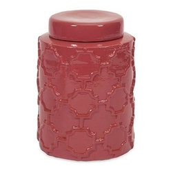 "IMAX - Essentials Melon Sorbet Small Canister - With it's bright color and embossed quatrefoil pattern, this small lidded ceramic canister is both a fun and functional part of the Melon Sorbet collection from Essentials by Connie Post. Item Dimensions: (7.5""h x 5.5""w x 5.5"")"