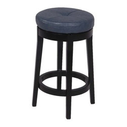 Chintaly Oakland Swivel Backless 26 in. Counter Stool - The simple, understated style of the Chintaly Oakland Swivel Backless 26 in. Counter Stool makes it an ideal accent for any decor. A highly functional stool, the Oakland features a 360 degree swivel, one button, tufted seat, available in a variety of colors. The solid birch wood frame in a black finish will make family and friends take notice. Relax and enjoy the comfort of this striking and sturdy stool.About Chintaly ImportsBased in Farmingdale, New York, Chintaly Imports has been supplying the furniture industry with quality products since 1997. From its humble beginning with a small assortment of casual dining tables and chairs, Chintaly Imports has grown to become a full-range supplier of curios, computer desks, accent pieces, occasional table, barstools, pub sets, upholstery groups and bedroom sets. This assortment of products includes many high-styled contemporary and traditionally-styled items. Chintaly Imports takes pride in the fact that many of its products offer the innovative look, style, and quality which are offered with other suppliers at much higher prices. Currently, Chintaly Imports products appeal to a broad customer base which encompasses many single store operations along with numerous top 100 dealers. Chintaly Imports showrooms are located in High Point, North Carolina and Las Vegas, Nevada.