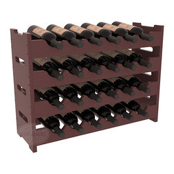 24 Bottle Mini Scalloped Wine Rack in Pine with Walnut Stain + Satin Finish - Stack four 6 bottle racks for proper storage of 24 wine bottles. This rack requires light hardware for assembly and is ready to use as soon as it arrives. Makes the perfect gift and stores wine on any flat surface.