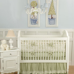 Doodlefish Toile Crib Bedding - Green - The Doodlefish Baby Toile-Green crib bedding is traditional and elegant in green toile with cream accents - gorgeous!