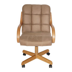 AW Furniture - Casual Dining Cushion Swivel and Tilt Rolling Caster Chair - This casual roller chair design combines both style and comfort. It has clean, simple construction. The Fabric covered chair creates a durable but confortable seat.