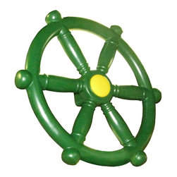 Playtime Swing Sets - Playtime Swing Sets Ships Wheel - Green - AM966 - 204 - Shop for Swings Slides and Gyms from Hayneedle.com! Set sail for adventure with the help of the Playtime Swing Sets Ships Wheel Green. This play set add on looks like a real ship s wheel and fires up imaginations with creative play. Made of durable resin materials it s made to last through the roughest seas hot summers and even cold winters. About Creative PlaythingsSince 1951 Creative Playthings has been building wooden swing sets and swing set accessories at their plant in Emporia Virginia. Creative Playthings cares deeply about the lives of American children as well as the livelihood of their American workers and all of their play systems are proudly Made in the USA. Creating beautiful functional children's play sets are not the sole goal at Creative Playthings' headquarters. The mission of Creative Playthings is to introduce exercise build self-confidence and develop the imaginations of young children so that they can grow to be well-rounded teens and adults. And for them that mission starts in the backyard.