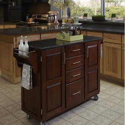 "Home Styles - Kitchen Cart with Granite Top - This kitchen island cart features solid wood construction, heavy duty casters, concealed storage, and so much more! Features: -Black granite top.-Concealed storage.-Adjustable condiment or spice caddy.-Adjustable towel bar.-Metal drawer suspensions.-Brushed steel pulls.-Heavy duty casters, with front casters locking.-Solid wood construction with MDF insert panels for increased strength.-Product Type: Kitchen Cart.-Collection: Create-a-Cart.-Counter Finish: Granite.-Hardware Finish: Brushed steel.-Distressed: No.-Powder Coated Finish: No.-Gloss Finish: No.-Base Material: Wood.-Counter Material: Black granite.-Hardware Material: Brushed steel.-Solid Wood Construction: Yes.-Number of Items Included: 1.-Water Resistant or Waterproof: No.-Stain Resistant: No.-Warp Resistant: No.-Exterior Shelves: No.-Drawers Included: Yes -Number of Drawers: 4.-Push Through Drawer: No..-Cabinets Included: Yes -Number of Cabinets : 2.-Double Sided Cabinet: No.-Adjustable Interior Shelves: Yes.-Number of Doors: 2.-Locking Doors: No.-Door Handle Design: Linear pulls..-Towel Rack: Yes -Removable Towel Rack: No..-Pot Rack: No.-Spice Rack: Yes .-Cutting Board: No.-Drop Leaf: No.-Drain Groove: No.-Trash Bin Compartment: No.-Stools Included: No.-Casters: Yes -Locking Casters: Yes.-Removable Casters: No..-Wine Rack: No.-Stemware Rack: No.-Cart Handles: No.-Finished Back: Yes.-Commercial Use: No.-Recycled Content: No.-Eco-Friendly: No.-Product Care: Clean with a damp cloth.Specifications: -ISTA 3A Certified: Yes.Dimensions: -Overall Height - Top to Bottom: 35.5"".-Overall Width - Side to Side: 48"".-Overall Depth - Front to Back: 17.75"".-Width Without Side Attachments: 44.5"".-Height Without Casters: 31.75"".-Countertop Thickness: 0.75"".-Countertop Width - Side to Side: 44.5"".-Countertop Depth - Front to Back: 17.75"".-Shelving: -Shelf Width - Side to Side: 12.5"".-Shelf Depth - Front to Back: 12.75""..-Leaf: No.-Drawer: -Drawer Interior Height - Top to Bottom (Small Drawers) : 3"".-Drawer Interior Height - Top to Bottom (Large Drawer) : 8.5"".-Drawer Interior Width - Side to Side: 10.25"".-Drawer Interior Depth - Front to Back: 11.5""..-Cabinet: -Cabinet Interior Height - Top to Bottom: 28.5"".-Cabinet Interior Width - Side to Side: 12.5"".-Cabinet Interior Depth - Front to Back: 12.75""..-Overall Product Weight: 208 lbs.Assembly: -Assembly required.-Assembly Required: Yes.-Tools Needed: Phillips screwdriver.-Additional Parts Required: No.Warranty: -Product Warranty: Vendor replaces parts for 30 days."