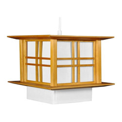 Oriental Furniture - Akida Hanging Lamp - Honey - This Akida Hanging Lamp employs a classic wooden double-cross design to bring a sophisticated Oriental accent to yThis home or business.