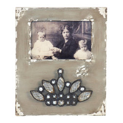 Zentique - Wood Photo Frame - Variation 4 - Display a treasured photo or work of art in a frame as special as what you put inside. Here, the juxtaposition of jeweled embellishment on weathered wood makes an intriguing accent for your decor.
