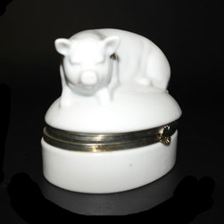 Japanese Pig Porcelain Trinket Box - Japanese Pig Porcelain Trinket Box
