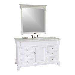 Bellaterra - 60 In Single Sink Vanity - Wood - White - This single vanity will be the keystone of your bath or powder room. The strong classic design commands attention and and speaks volumes about your elegant taste. Constructed of environmentally friendly, zero emissions solid oak wood, engineered to prevent warping and last a lifetime. Top with white marble top, variations in the shading and grain of our natural stone products enhance the individuality of your vanity and ensure that it will be truly unique.60Wx22.5Dx35.5H * ** * Birch* White* White Marble  ** White Ceramic Sink* Antique brass finish hardware* Pre-drilled with 3 holes- 8 in. center faucet, faucet and mirror not included* No Assembly Required. Dimensions: 60 in. x 22.5 in.