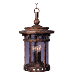 Maxim Lighting - Maxim Lighting Santa Barbara VX Traditional Outdoor Hanging Lantern Light X-ESDC - This Maxim Lighting Santa Barbara VX traditional outdoor hanging lantern light will enhance the look of any space. The frame, which has a rich and warm sienna finish, is made with Vivex, a material that's twice as strong as resin. It's a wonderful, three-light fixture with seedy glass panels, and  will look magnificent in any outdoor space, from your porch to your garden.