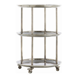 Arteriors - DuBois Bar Cart By Arteriors - As graceful as Fred Astaire, as rapturous as Ginger Rogers, this bar trolley is also an industrious worker, offering three levels of storage and serving space in one compact footprint. Constructed from solid brass, it sports a vintage silver finish that complements its Art Deco lines.The industrial wheels guarantee smooth rolling, and lock in place for added security and ease of use.