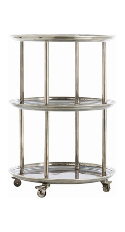Arteriors - DuBois  Bar Cart - As graceful as Fred Astaire, as rapturous as Ginger Rogers, this bar trolley is also an industrious worker, offering three levels of storage and serving space in one compact footprint. Constructed from solid brass, it sports a vintage silver finish that complements its Art Deco lines.The industrial wheels guarantee smooth rolling, and lock in place for added security and ease of use.