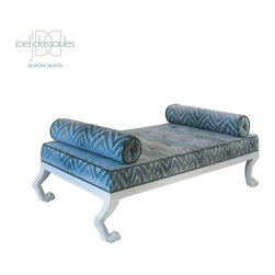 Lyon Daybed - Stately and unexpected, the Lyon Daybed features hand-carved animal leg base, tufted seat with two self weighted bolster pillows, choice of wood finish and nailhead trim.