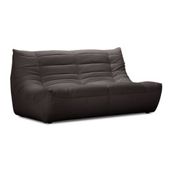 ZUO - Carnival Loveseat - Espresso - The Carnival sectional set is like curling up in someone's arms. Wrapped in a soft leatherette, it's padded and tufted in all the right places. Comes in espresso, black or white.