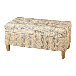 Brandis Storage Bench - Subtle reptile texture in muted colors envelope the exterior of the Brandis Storage bench giving a transitional nod, while a hardwood framed bench provides comfortable seating and extra storage. The Brandis is both elegant and exotic and a perfect little bench, ottoman or trunk for a walk in closet or the end of the bed in a guest room.
