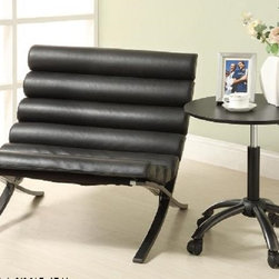 Verdo Black Leather Barcelona Accent Chair - Vedro Black Modern Barcelona Accent Chair. Features futuristic configuration with the cool lines of an X frame, comfortable seat in black bi-cast vinyl and a cool gunmetal grey powder-coat finish. Dimensions: 30x30x27H