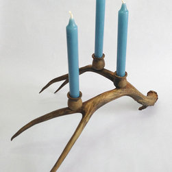 Deer Antler Candelabra, Rust and Gold by Custom Antlers - It's not the holidays unless there's an antler on the table. Oh wait, is that just me?