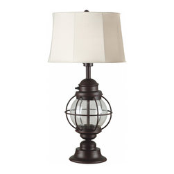 Kenroy Home - Kenroy 03070 Hatteras Outdoor Table Lamp - The perennial beauty of an old lantern makes Hatteras a must for lovers of seaside ephemera with an antique look.  Seeded glass adds character to this eternal classic.
