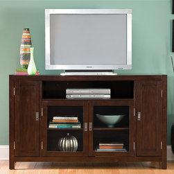 HomeStyles - TV Credenza in Espresso Finish - Large open storage area. Two glass doors. Two side wood doors with storage. Adjustable shelves on sides. Wire management opening. Made from poplar solids and birch veneers. 60 in. W x 20.25 in. D x 36 in. H. Assembly InstructionsThe City Chic Entertainment Credenza is a perfect addition to your contemporary decor. Clear coat finish to help guard against wear and tear stemming from normal use.