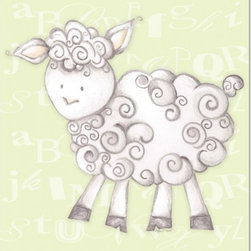 "Doodlefish - Shelby Sheep Green - Shelby Sheep is an 18"" x 18"" Gallery Wrapped Giclee Print of a mix of graphical elements and a drawing of a fluffy sheep with a curly tail.  Choose the background color and the background pattern to match your child's room,  Add your child's name or even your favorite pet.  This artwork is also available mounted in a painted frame of your choice.    The finished size of the mounted piece is approximately 22""x22""."