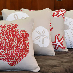 Crab Organic Cotton Eco Art Throw Pillows - These handprinted pillows are perfect accent pieces for coastal living.