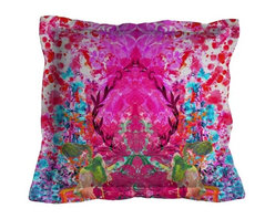 "EcoFirstArt - Omni Splatt Cushion - This stunning textile takes the rorschach out of black and white and catapults it into vibrant color. Play a game with your guests when you put this vibrant linen pillow on your sofa or day bed by asking, ""What do you see?"". This ultramodern pillow is available in a variety of fun colors."