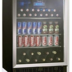 Danby - 5.3 cu.ft beverage center - Generous 5.3 cu. ft. capacity suitable for 110 beverage cans in addition to 11 bottles of wine. Boasts 3-frosted glass adjustable shelves, an all black interior and stainless steel door trim. The tempered glass door is designed to minimize harmful UV light. Danby's Cool Blue LED lighting system provides enhanced display lighting for the interior without the heat of traditional incandescent bulbs that can warm stored contents. The interior front mount blue LED thermostat can be set between 40F 64F (4C - 18C). A discreet integrated door lock will keep the contents secure and the reversible door swing provides the option of a left or right hand opening. A unique fan forced interior cooling system better maintains the desired set temperatures in comparison to conventional cycle defrost systems. LED Display. Unit dimensions (23 14/16 x 23 12/16 x 34 6/16)