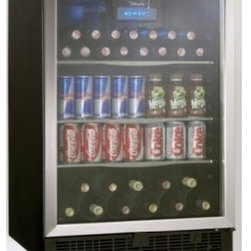 Danby - 5.3 cu.ft beverage center - Generous 5.3 cu. ft. capacity suitable for 110 beverage cans in addition to 11 bottles of wine. Boasts 3-frosted glass adjustable shelves, an all black interior and stainless steel door trim. The tempered glass door is designed to minimize harmful UV light. Danby's Cool Blue LED lighting system provides enhanced display lighting for the interior without the heat of traditional incandescent bulbs that can warm stored contents. The interior front mount blue LED thermostat can be set between 40F 64F (4C - 18C). A discreet integrated door lock will keep the contents secure and the reversible door swing provides the option of a left or right hand opening. A unique fan forced interior cooling system better maintains the desired set temperatures in comparison to conventional � cycle defrost � systems. LED Display. Unit dimensions (23 14/16 x 23 12/16 x 34 6/16)