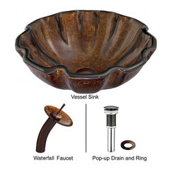 Vigo - Vigo Walnut Shell Glass Vessel Sink and Waterfall Faucet Set (VGT032RBRND) - Vigo VGT032RBRND Walnut Shell Glass Vessel Sink and Waterfall Faucet Set, Oil Rubbed Bronze