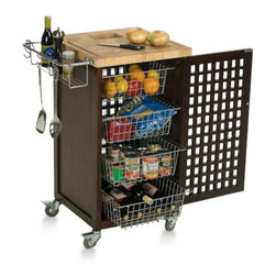 Chris and Chris - Chef Series Food Prep Station in Espresso - This compact prep cart features 4 sliding baskets behind an attractive lattice door. The 1.5-in.-thick end-grain hardwood top includes a Chop and Drop cutout.