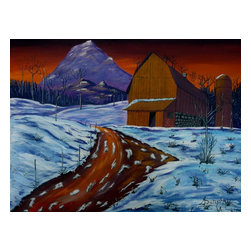 Country Dawn, Original, Painting - As the first lights of dawn steal across the mountain tops the farm comes into view. It is winter still so snow blankets the scene heavily adding to the quiet of the peaceful scene. This painting has been created with professional quality acrylics on archival quality canvas paper. It is 12X16 inches or 30X40 centimeters.