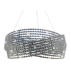 Lightupmyhome.com - Chrome Crystal Chandelier 3-Ring Lighting Pendant , Medium - This gorgeous round chandelier sparkles endlessly.  The light sparkles like diamonds through the clear crystals and spiraling frame.  The chandelier hangs perfectly to provide ambiance to any dinner party