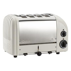Dualit® NewGen Canvas White 4-Slice Toaster - A toast to retro-inspired design, hand-assembled in England and designed for commercial use. Insulated stainless steel in a stylish two-tone finish of satin stainless and canvas white is embossed with the Dualit logo. Variable controls include defrost and the option to toast buns or bagels in the extra-wide slots. Selector controls heat in either or both sides. With a patented design for increased efficiency and longevity, each toaster features a removable crumb tray and adjustable rear foot.