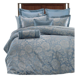 Bed Linens - Brenda 9PC Bed in a Bag by Royal Hotel Collection, CalKing 9PC Set - The duvet cover set is completed with coordinated Two Pillow shams, Two European shams, Two Decorative cushions, One Bed Skirt and One down Alternative comforter with T300 cover. The over all look is one of the simplicity and elegance that will be enjoyed for years to come. The Front of the duvet cover is made of 100% Polyester Jacquard and the Back is Made of Cotton rich (50% cotton 50% Polyester). The duvet cover is trimmed (Finished) with elegant cording all four sides with button closer from one side.