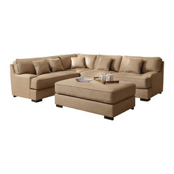 Homelegance - Homelegance Minnis Sectional in Beige Faux Leather - Taking a turn at classic modern aesthetic is the Minnis collection. Low profile track arms and knife edge toss pillows set the line of this uniquely upholstered sectional seating group. The beige heavy duty faux leather that covers this collection has the hand and feel of nubuck with the breathability of fabric. The coordinating ottoman provides extra seating and room to stretch out. Also available in brown or chocolate wide wale fabric.