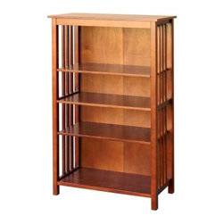 DonnieAnn Hollydale 50 in. Bookcase - Chestnut - Establish an elegant decor anywhere in your home with the DonnieAnn Hollydale 50 in. Bookcase - Chestnut. This sophisticated bookcase features decorative side slats and a warm, rich chestnut finish that's reminiscent of the early 20th-century Arts and Crafts movement. Crafted with Crafted with a poplar frame and legs and MDF, wood composite, and okume veneer pieces, the piece has a traditional versatility that pairs well with almost any interior decor. Four spacious shelves provide ample room for exhibiting your favorite titles or beloved curios. And because it stands at just under five feet tall, this bookshelf makes an excellent extra surface space for display items or potted plants that can help liven up a living space.About DonnieAnnBased in California, DonnieAnn's main concern is the idea of home furnishings being exceptional in comfort, style, and quality. As a global company, DonnieAnn also prides itself on offering the best value to customers. While Home, sweet home is one of their beliefs, they also include safe and affordable when it comes to home goods.