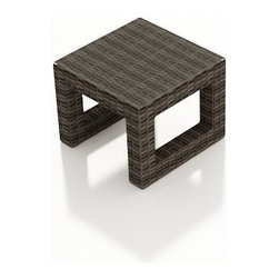 Forever Patio - Bayside Modern Wicker End Table, Stone Wicker - Add function and beauty to your Bayside seating with the compact yet practical Bayside End Table (SKU FP-BAY-ET-SW). The Stone Wood wicker is infused with color and UV-inhibitors, creating a look that will last throughout the seasons. It also sports a thick, flat-weave design that is brimming with modern beauty. The table includes a durable tempered glass top that gives it a touch of sophistication.